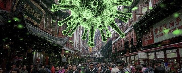 Large image of coronavirus over a crowded street